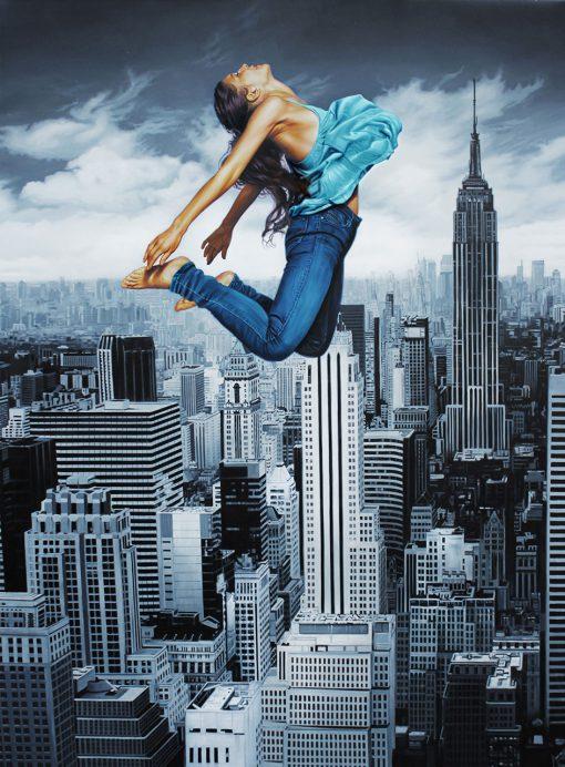 Frau vor New Yorker Skyline von Christopher Corso