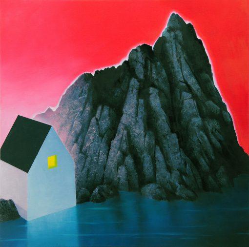 Haus mit rotem Hintergrund