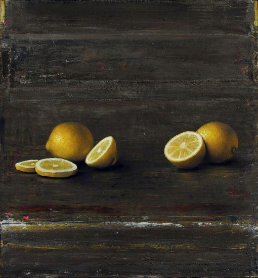 Zitronen auf schwarzem Grund
