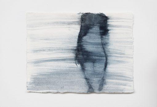 Blaue Gouache auf Papier