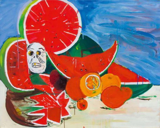 Ölbild mit Wassermelonen und Totenkopf