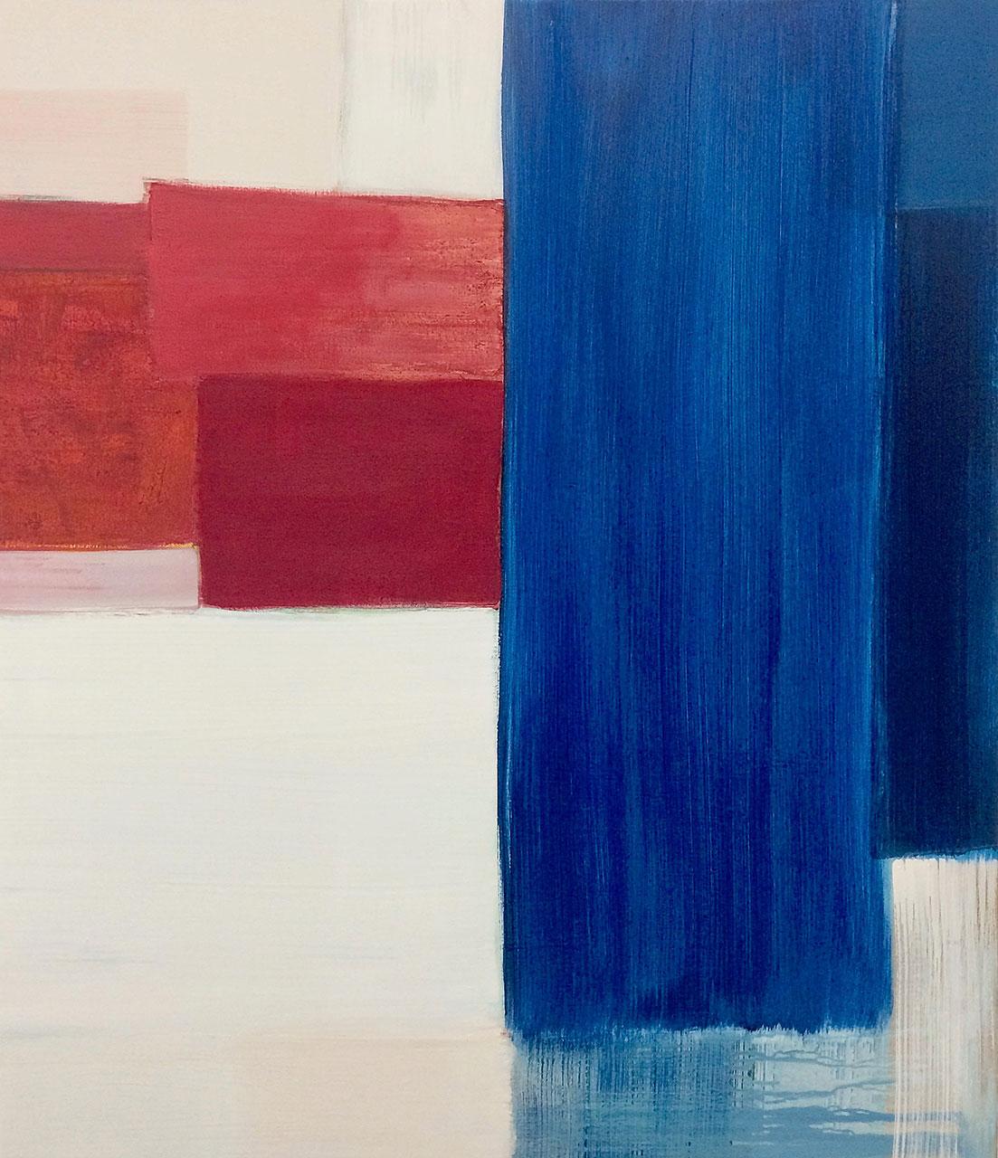 abstraktes Bild, weiß, rot, blau