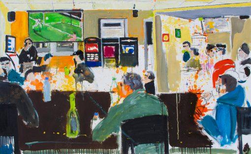 Ölbild Cafészene