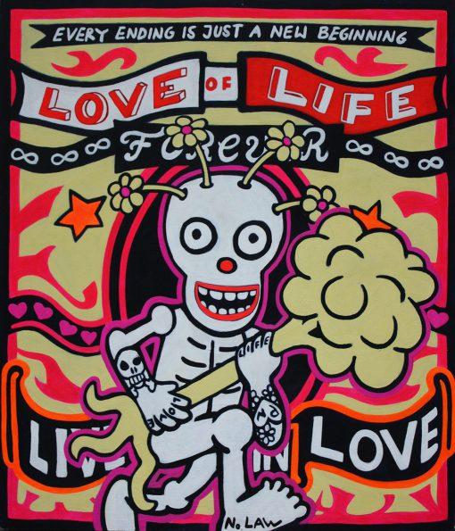 Comichaftes Gemälde eines Skeletts