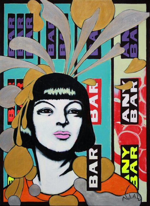 Gemälde einer jungen Frau im Pop-Art-Stil