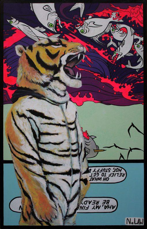 Gemälde eines wütenden Tigers im Pop-Art-Stil