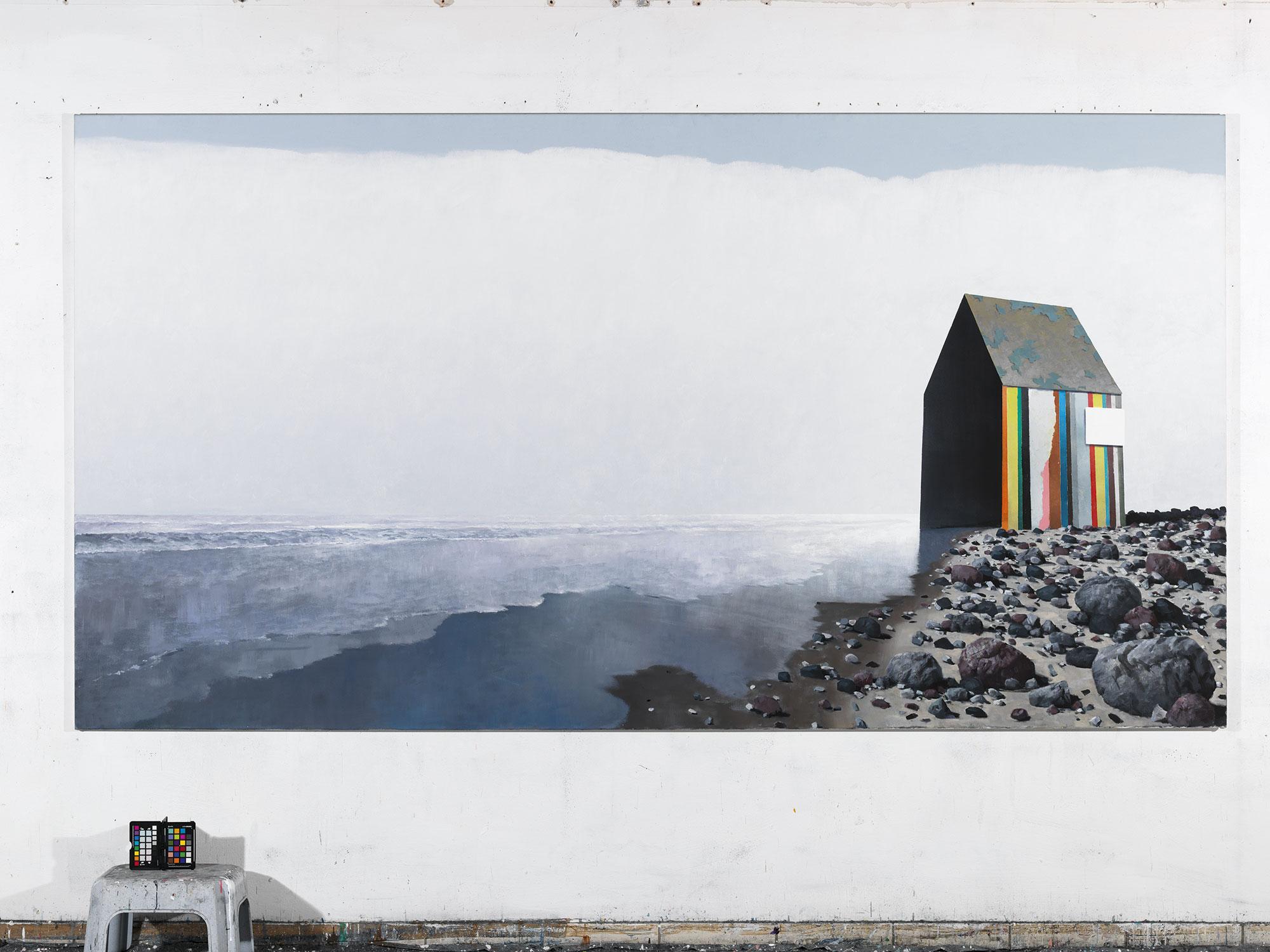 Gerhard Rießbeck, Haus am Strand, 2017, Öl auf Leinwand, 160 × 300 cm