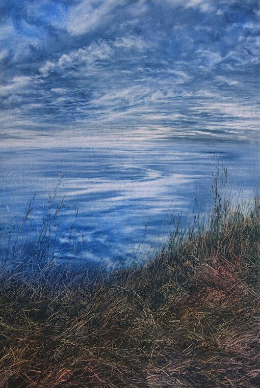 Gras auf einer Klippe mit Blick das Meer