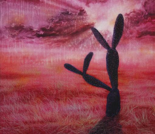 Gemälde von einem Kaktus in der roten Abendsonne
