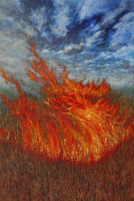 Gemälde von einem Brand im hohen Gras