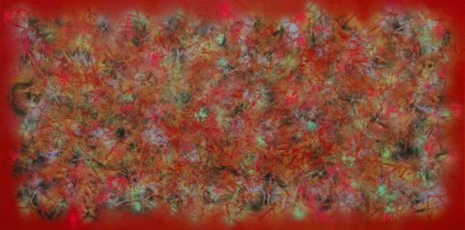 ein abstraktes Gemälde mit Sprühfarbe und Gras