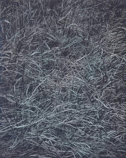 Ein Gemälde einer Detailansicht von Gras