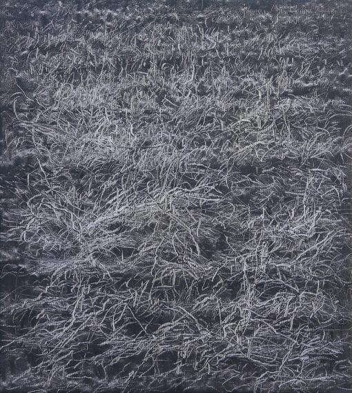 Gemälde einer Graslandschaft im Detail