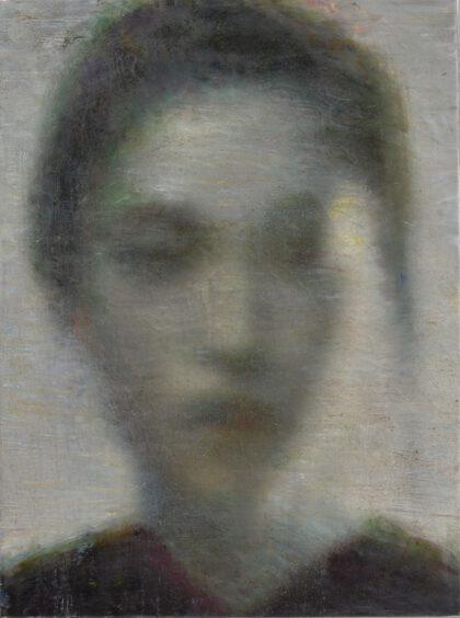 Portrait einer asiatischen Frau in schwarz weiss und unscharf gemalt