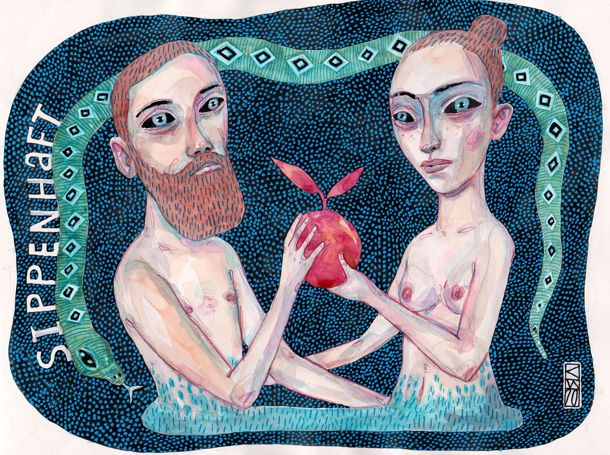 Zeichnung von Adam und Eva