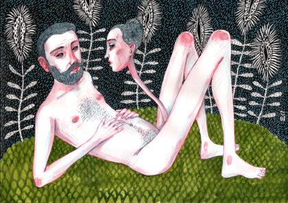 Zeichnung eines nackten Mannes, der auf dem Rücken im Grads liegt und dem ein Frauenkopf aus dem Penis wächst