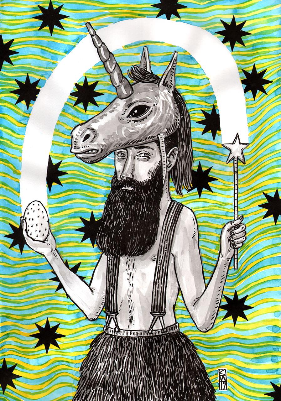 Zeichnung eines Mannes mit Bart, der eine Einhornmaske auf dem Kopf trägt und mit Lichtstrahlen jongliert